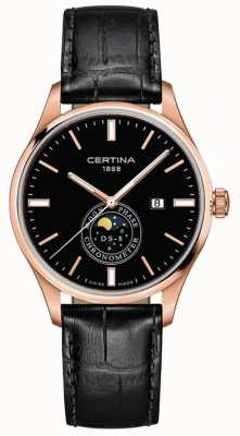 Certina DS-8 hommes | noir | or rose | montre de phase de lune C0334573605100