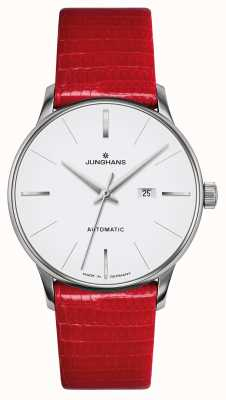 Junghans Meister damen automatique | sangle lézard véritable rouge 027/4844.00