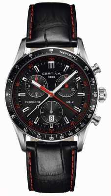Certina Mens ds-2 | chronographe | cadran noir | bracelet en cuir noir C0244471605103