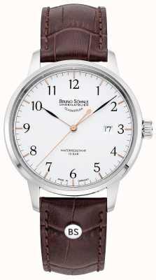 Bruno Sohnle Hommes hambourg grand | cadran blanc | bracelet en cuir marron 17-13201-221
