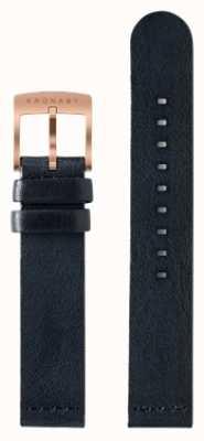 Kronaby Bracelet en cuir bleu foncé de 18 mm seulement A1000-0576