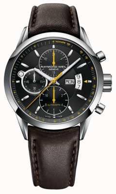 Raymond Weil Pigiste homme | chronographe | cuir marron | cadran noir 7730-STC-20021