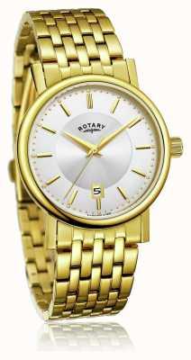Rotary Bracelet mince en acier inoxydable plaqué or pour homme | cadran argenté GB03635/03