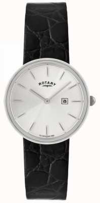 Rotary Bracelet homme en cuir noir | cadran argenté GS21226/06