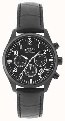 Rotary Chronographe homme | bracelet en cuir noir | cadran noir GS00110/04