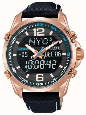 Pulsar Alarme homme double heure bracelet en cuir noir doré PZ4006X1