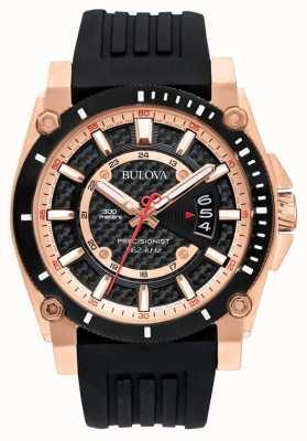 Bulova Bracelet caoutchouc homme noir Precisionist or rose 98G152