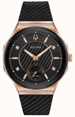 Bulova Bracelet en caoutchouc plaqué or rose pour femme 98R239