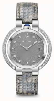 Bulova Bracelet en cuir serti de diamants pour femmes, rubaiyat 96R218