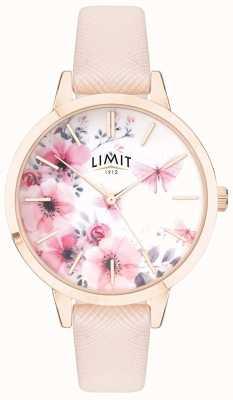 Limit | jardin secret des femmes | cadran fleuri rose et blanc | bande rose 60023