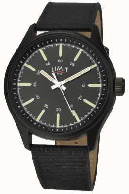Limit | hommes | bracelet en cuir noir | cadran noir | 5948.01