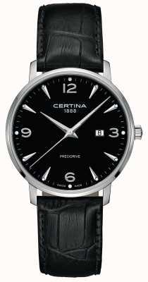 Certina Mens ds caimano bracelet en cuir noir cadran noir C0354101605700