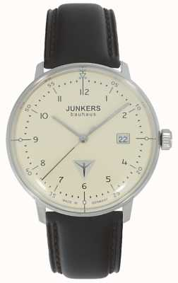 Junkers Montre Bauhaus en cuir marron avec cadran crème 6046-5