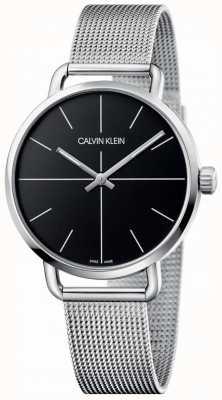 Calvin Klein | maille même moyenne en acier inoxydable pour femmes | cadran noir | K7B21121