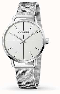Calvin Klein | maille même moyenne en acier inoxydable pour femmes | cadran blanc | K7B21126
