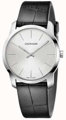 Calvin Klein | montre extension de la ville | bracelet en cuir noir | cadran argenté | K2G221C6
