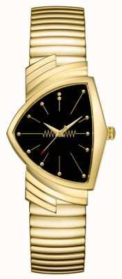 Hamilton   montre à quartz ventura   cadran noir   bracelet flexible   H24301131