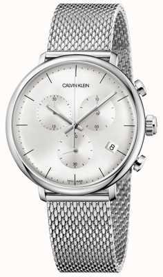 Calvin Klein | bracelet haute mens en acier inoxydable | cadran argenté | K8M27126