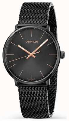 Calvin Klein   haute montre de midi   bracelet en acier inoxydable noir   cadran noir K8M21421