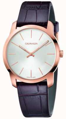 Calvin Klein | montre extension de la ville | bracelet en cuir marron | cadran argenté | K2G226G6