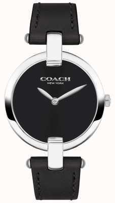 Coach | montre chrystie pour femme | cuir noir et acier | 14503091