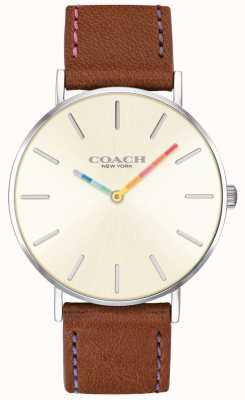 Coach | montre femme perry | bracelet en cuir marron cadran blanc | 14503032