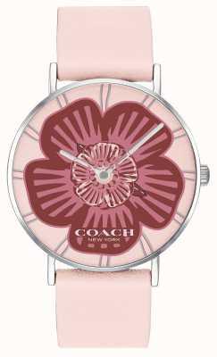 Coach | montre femme perry | bracelet en cuir rose | cadran floral | 14503231