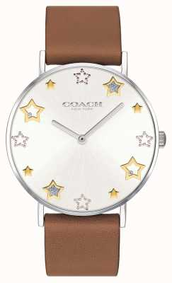 Coach | montre femme perry | bracelet en cuir marron | 14503242