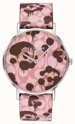 Coach | montre femme perry | bracelet en cuir rose motif floral | 14503246