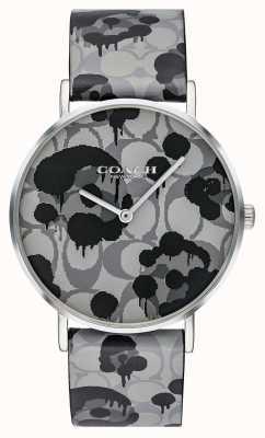 Coach | montre femme perry | bracelet en cuir gris motif floral | 14503248