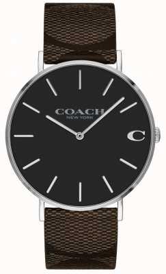 Coach | montre homme charles | bracelet en cuir marron | 14602156