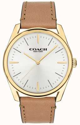 Coach | montre de luxe moderne pour hommes | bracelet en cuir beige cadran blanc | 14602398