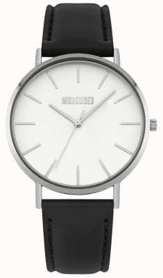 Missguided | montre femme | bracelet en cuir noir cadran blanc | MG017B