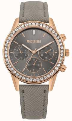 Missguided | montre femme | bracelet en cuir gris boîtier en or rose | MG002ERG