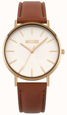 Missguided | montre femme | cadran blanc en cuir marron | MG017TRG
