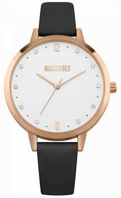 Missguided | montre femme | boîtier en cuir noir et or rose | MG010BRG