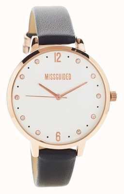 Missguided | montre femme | cuir noir boîtier en or rose | MG010BRG