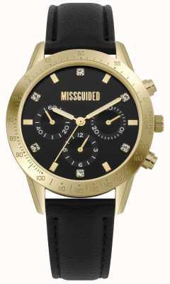 Missguided | montre femme | boîtier en cuir noir or | MG004BG