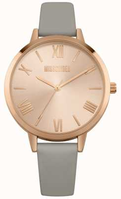 Missguided | montre femme | bracelet en cuir gris cadran rose | MG001ERG