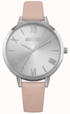 Missguided | montre femme | bracelet en cuir rose cadran argenté | MG001P