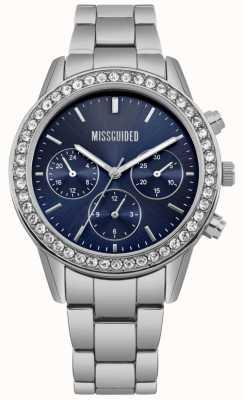 Missguided | montre femme | cadran bleu en acier inoxydable | MG002USM