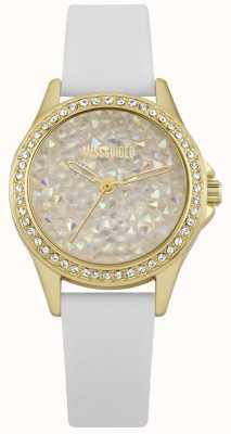 Missguided | montre femme | bracelet en cuir blanc boitier doré | MG013WG