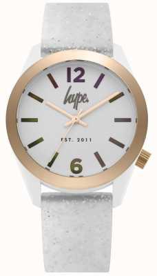Hype | bracelet en silicone paillettes blanches pour femmes | cadran argenté | HYL004S