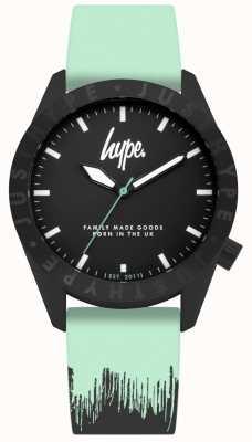 Hype | bracelet en silicone noir menthe | cadran noir | HYU008AU