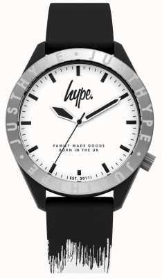 Hype | bracelet en silicone noir / blanc pour homme | cadran blanc | HYG006BW