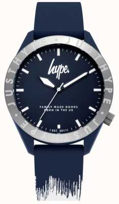 Hype | bracelet en silicone bleu / blanc pour homme | cadran bleu | HYG006UW