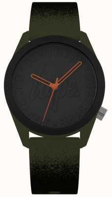 Hype | bracelet en silicone kaki / noir | cadran noir | HYU009NB