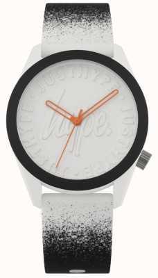 Hype | bracelet en silicone noir / blanc | cadran blanc | HYU009BW
