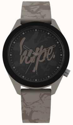 Hype | bracelet en silicone gris chaud pour hommes | cadran noir | HYG005BR