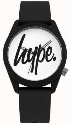 Hype | bracelet en silicone noir | cadran blanc | HYU001B